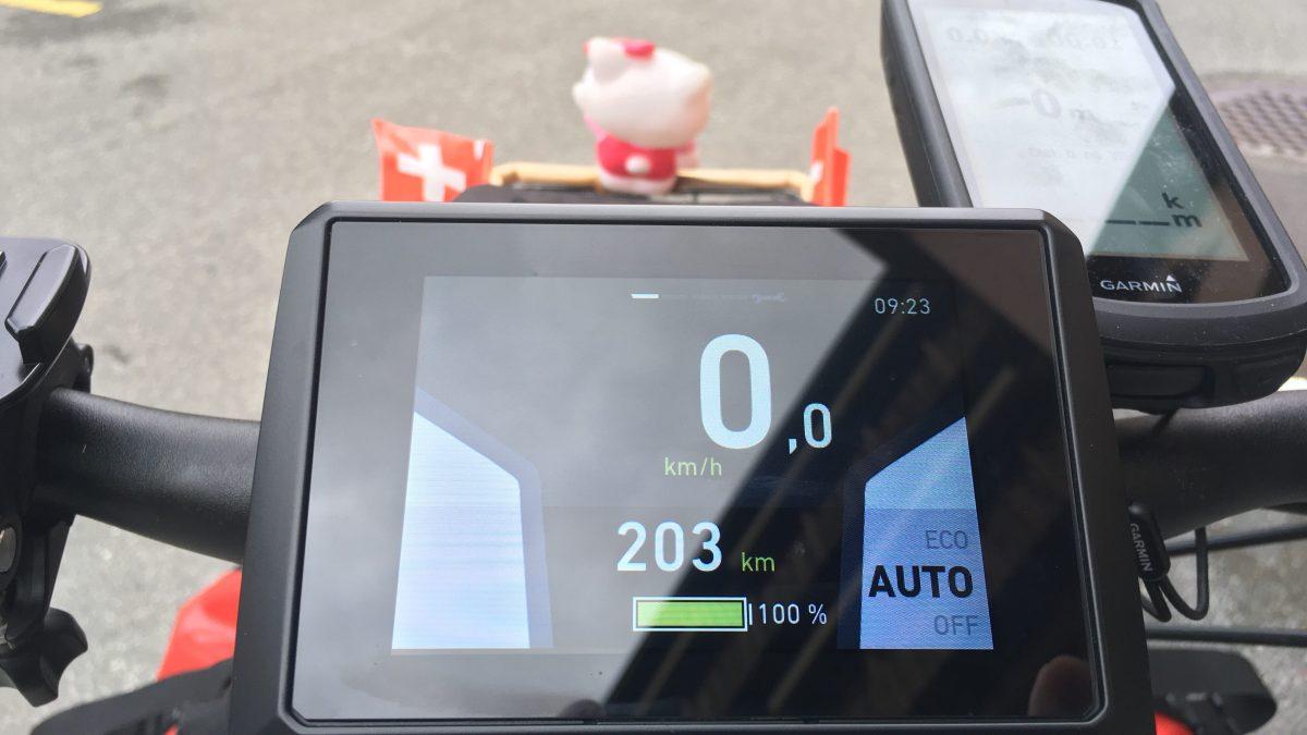 Cockpit-Ansicht bei vollem Akku und Modus «Automatik». (Bild: Andrea Freiermuth)