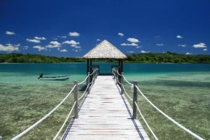 Eratap jetty on the lagoon