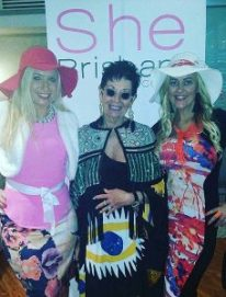 """Jennifer Vines and Michaela Bourke, our """"The Social Report"""" columnists with 'Most Glamorous' prize winner, Noela Watkins"""