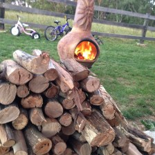 Outdoor fire with cut wood