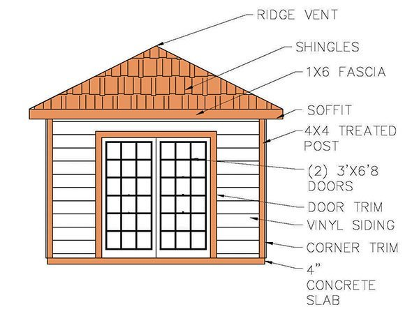 812 Hip Roof Shed Plans Amp Blueprints For Cabana Style Shed
