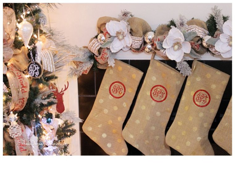 DIY Monogrammed Christmas Stockings