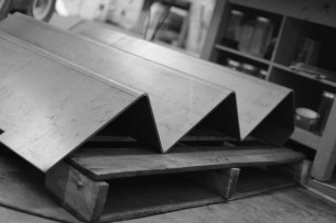"""We had Atlas&Cedar take our simple computer drawing and fabricate these beautiful stairs, literally folded our of a single piece of 1/4"""" steel plate."""