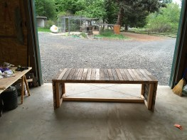 Table made from old wood found in the pasture