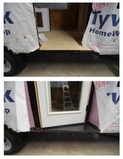 Custom Fabricated steel flashing pan for our angled front door step.