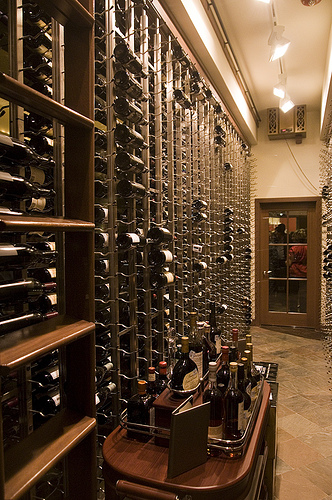 The wine vault at Chez Roux.