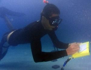 Scuba Diver writing