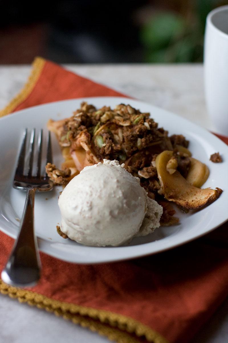 Honeycrisp Crumble with Cinnamon Spiced Cashew Ice Cream
