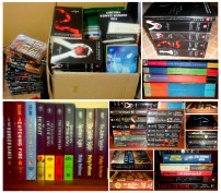 my books on the box and some scattered while im fixing my shelf :)