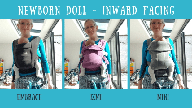 Comparing the Ergobaby Embrace (black), Izmi Baby (purple) and the Baby Bjorn Mini (grey) carriers with a newborn or 6 week ish sized weighted doll