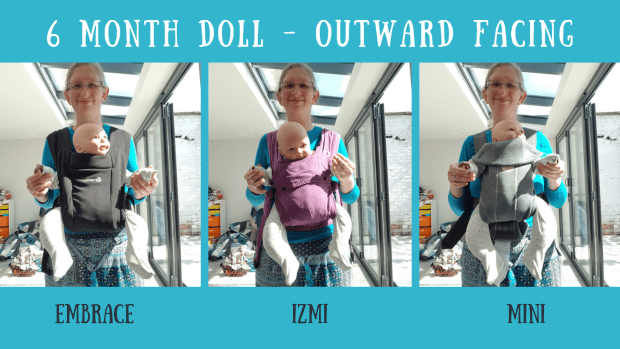 Comparing the Ergobaby Embrace (black), Izmi Baby (purple) and the Baby Bjorn Mini (grey) carriers in a forward facing carry with a 6 month equivalent sized weighted doll