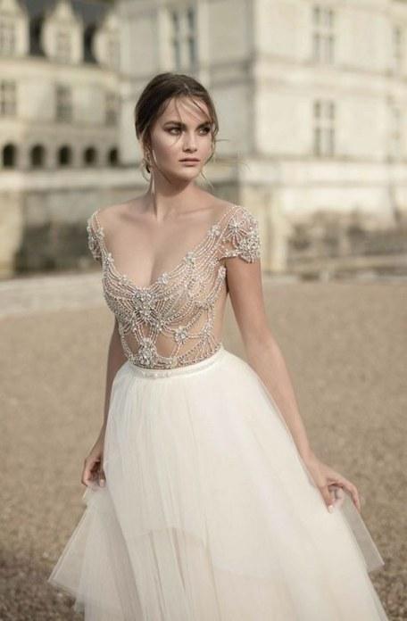 short-sleeve-scoop-neck-ballgown-wedding-dress-with-jewel-embellished-bodice-via-alon-livne
