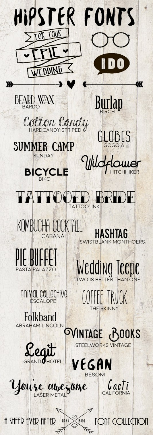 Hipster wedding fonts