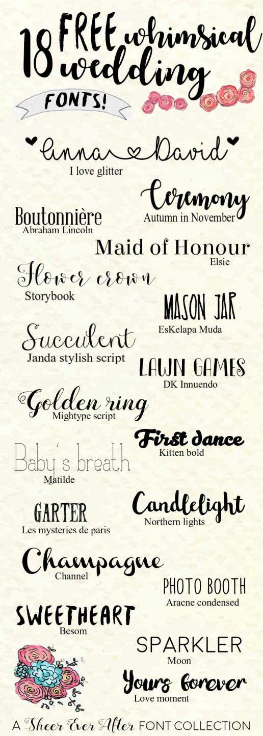 FREE Whimsical wedding fonts | | Sheer Ever After