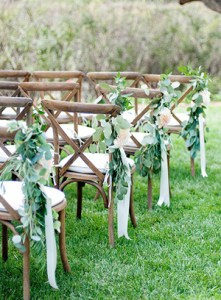 Chic Rustic Ceremony Chairs With Greenery