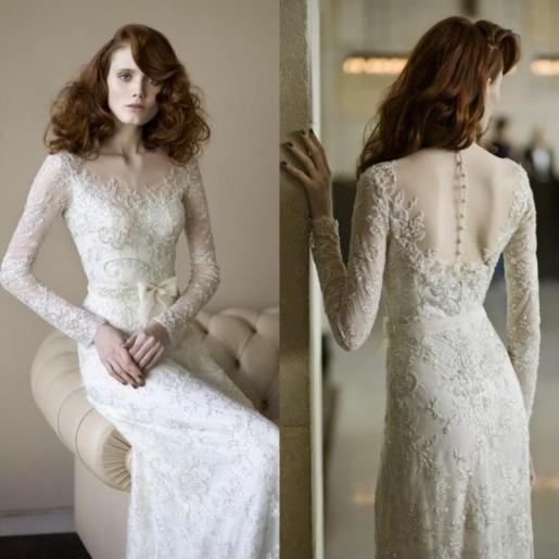 Long sleeve Vintage Wedding Dress// Alicia Vikander Wedding Ideas // SHEER EVER AFTER WEDDINGS
