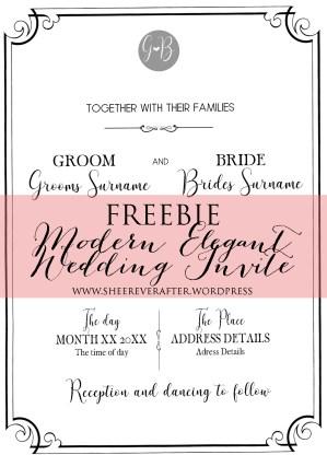 FREE WEDDING INVITE // Modern Elegance Font Collection // SHEER EVER AFTER WEDDINGS