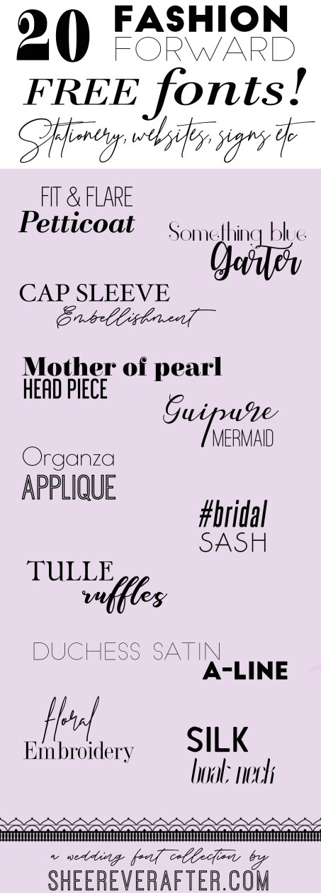 FREE Wedding Invitation Fashion Fonts | | Sheer Ever After