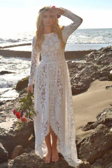 Saldana Vintage boho beach wedding dress