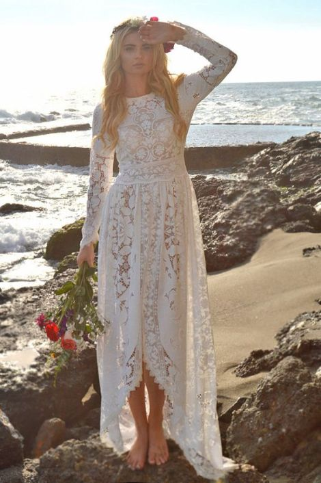 Saldana Vintage boho beach wedding dress