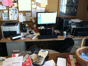 a photograph of the author's messy office