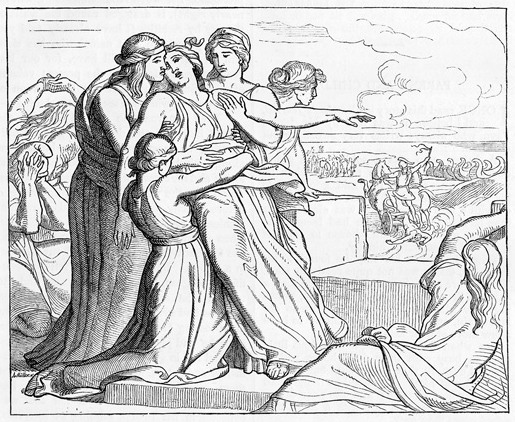 1877 etching of Andromache grieving for Hector