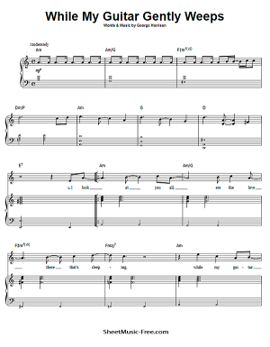 Free Download While My Guitar Gently Weeps Sheet Music PDF Beatles