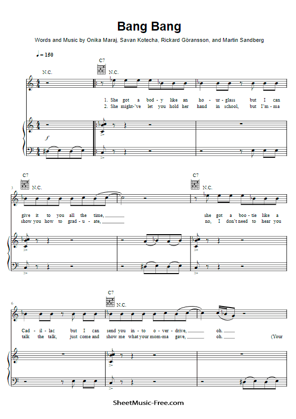 Download Bang Bang Sheet Music Jessie J, Ariana Grande, Nicki Minaj
