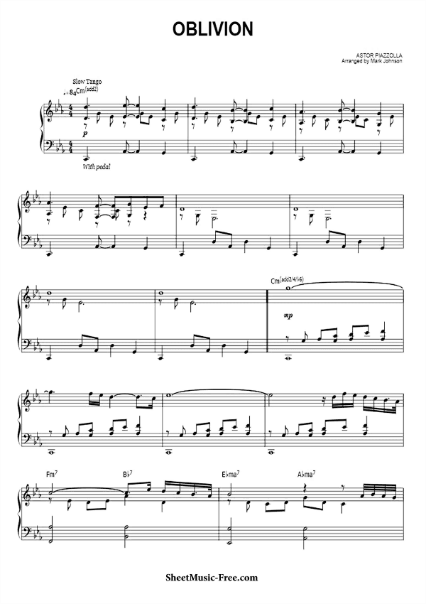 Download Oblivion Sheet Music Astor Piazzolla Piano Solo