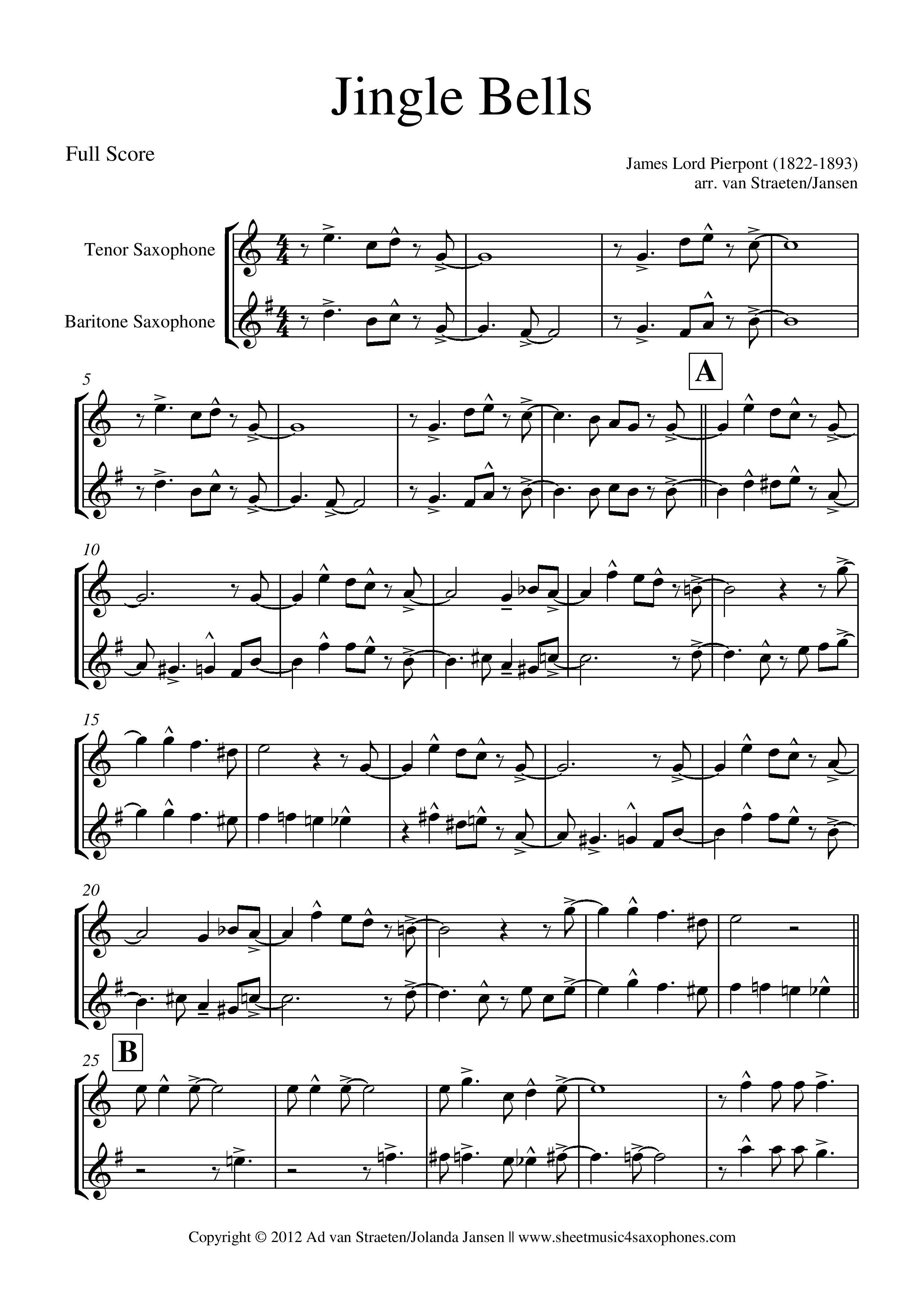 Jingle Bells Jazz Sheet Music