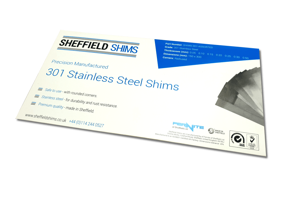 Sheffield Shims - Grade 301 Stainless Steel Shims - Buy online