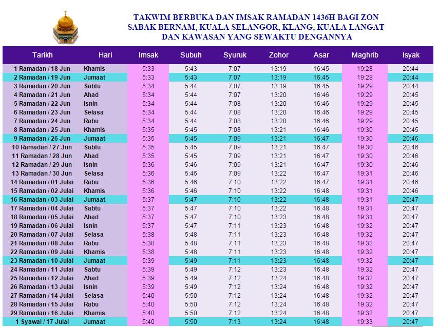 JADUAL WAKTU BERBUKA PUASA DAN IMSAK 2018
