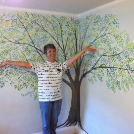 Finished tree mural for baby's room, Swampscott, MA.