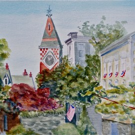 """Marblehead Morning, watercolor, 16"""" x 20"""" (Old Town, Marblehead, MA)"""