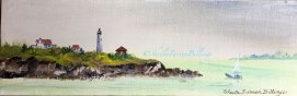 "Baker's Island Sail, acrylic, 4"" x 12"" (Salem, MA)"