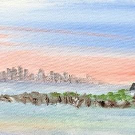 "Boston Light Sunrise, acrylic, 4"" x 12"""