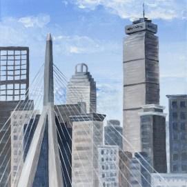"Boston Skyline, acrylic, 8"" x 10"""