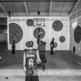 The kids give a basketball demonstration in front of mural for pop-up fundraiser for Boys and Girls Club of Greater Salem, MA 2016