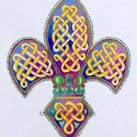 """Celtic Fleur-de-Lis, pencil & ink, 8"""" x 10"""""""