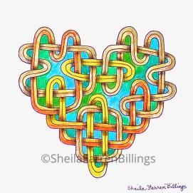 """Celtic Heart Gold over Aqua, pencil & ink, 5"""" x 7"""""""