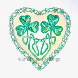 "Celtic Heart Mo Cara, pencil & ink, 5"" x 7"""