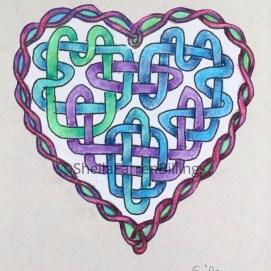 "Celtic Heart Purple, ink & pencil, 5"" x 7"""