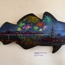 Marblehead Illumination, acrylic on wooden codfish