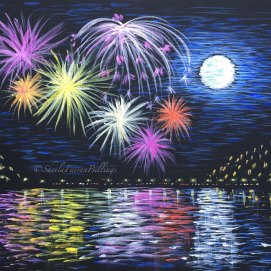 "Fireworks, acrylic, 16"" x 20"" (view from Nahant Beach towards Lynn, MA)"