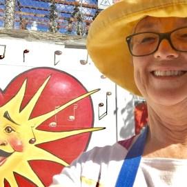 Punto Urban Art Museum 2017, Singing Sun Mural detail & selfie with artist, Peabody St., Salem, MA
