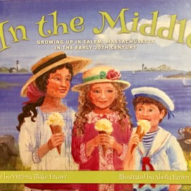 c Front cover shows the three main characters enjoying ice cream by Salem Harbor.
