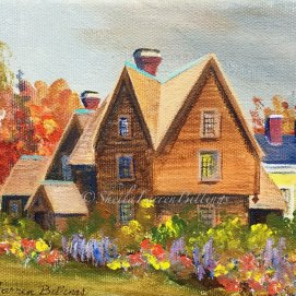 "H7G Autumn Garden, acrylic, 8"" x 10"" (The House of the Seven Gables, Salem, MA)"
