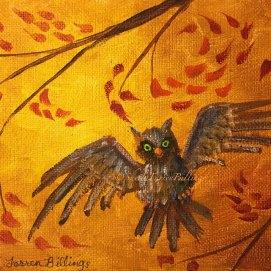 """Autumn Owl, acrylic, 8"""" x 8"""""""