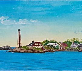 "Marblehead Panorama, acrylic, 12"" x 24"" (Marblehead Harbor, Marblehead, MA)"