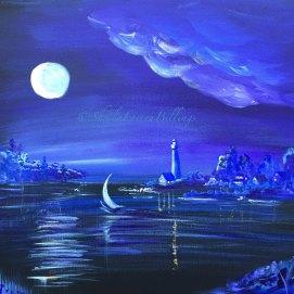 "Moonlight Sail, acrylic, 16"" x 20"" (Cape Cod, MA)"